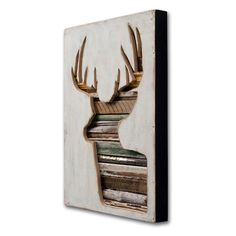 Trendy Antlered Home Decor: buck deer salvaged wood object assemblage wall art