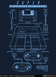 SUPER ENTERTAINMENT SYSTEM Blue Ink T-Shirt - SNES T-Shirt is $12 today at Once Upon a Tee!