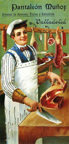 JAMONES, TOCINO Y EMBUTIDOS. Vintage Food Posters, Vintage Advertising Posters, Old Advertisements, Pub Vintage, Vintage Labels, Retro Images, Vintage Images, Italian Posters, Old Commercials