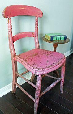 Pink English Chippy Farmhouse Desk Chair Houston Texas