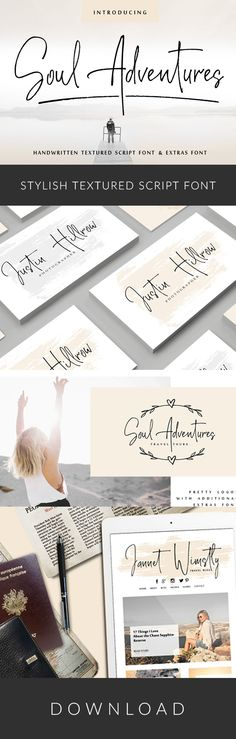 Hello! I'm very happy to present my textured script font Soul Adventures. Its hand look style makes it perfect for use in all your design projects be it logos, signatures, labels, packaging design, blog headlines. Also, it will look great in mugs, cards, gorgeous typographic designs, wedding stationery and much more. And additional font Soul Adventures_symbols can help you to make a lot of pretty designs and logos.