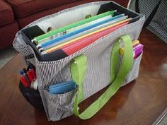 Clutter-Free Classroom: Teacher bag with hanging files from a 31 tote. I have this exact tote and I'm going to do this for sure!!