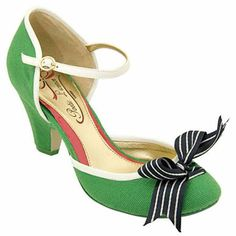 Green linen, white leather trim, black & white ribbon with stacked heel, comfort with color.