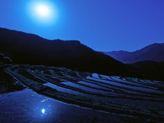 Image Detail for - Blue Night, beautiful, blue, moon, mountains, nature, night, peaceful ...