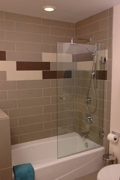 Gentil Remodeled Bathroom With Tub And Shower Unit, Tile Surround And Glass Door.  By Nealu0027s