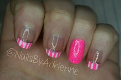 Cute Neon Pink and white striped nail tutorial! Go check it out!