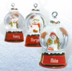 "Ganz Snowglobes Emma * Glass Personalized Christmas Ornament by Ganz. $5.99. Snowglobes are always a favorite with young and old. These brand new Ganz ""Snowman"" and ""Snowgirl"" globes are so adorable. You can't help but smile! Mini snowglobe measures Size - 1 1/8"" x 2"" H. Order early to insure selection. This is the last year of production. Can't find your name!?!?? Blank globes are available for personalization."