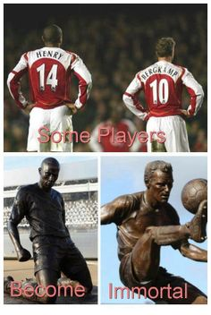 Bergkamp Henry Statues. Arsenal Football, Arsenal Fc, Football Team, Dennis Bergkamp, Thierry Henry, Sport Man, Soccer, My Love, Legends
