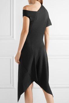 THE ROW Jiana asymmetric ribbed wool-blend midi dress 4 Черная Шерсть d157eebf075a