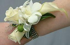 cala lily wrist corsage on diamante bracelet Image Wrist Corsage Wedding, Wedding Bouquets, Lily Wedding, Desi Wedding, Wedding Ideas, Wedding Crafts, Wedding Details, Prom Flowers, Bridal Flowers