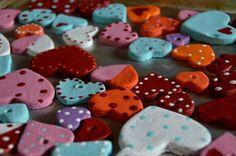Salt dough valentine heart necklaces & magnets