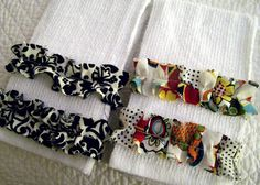 inexpensive bar mop towels transformed into pretty towels = nice gifts