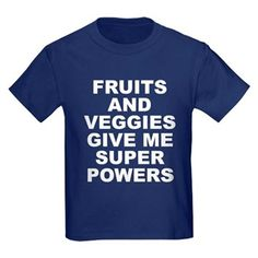 Women's dark color navy blue t-shirt with Fruits And Veggies Give Me Super Powers theme. Fruits and vegetables can improve your health and will literally change and save your life. Available in black, red, navy blue, royal blue, purple; kids x-small, kids small, kids medium, kids large, kids x-large for only $23.99. Go to the link to purchase the product and to see other options – http://www.cafepress.com/stfruitsveggies