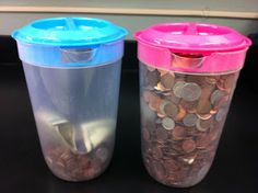 Penny Wars for charity: students write a persuasive essay about the charity of choice to convince classmates to put pennies in a jar