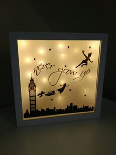 IMPORTANT: if your order is for Christmas the last date to order is 4th December. Any orders placed after this date will NOT be guaranteed for Christmas. Thank you. Truly stunning light up shadow box displaying your favourite Peter Pan characters and the infamous Never Grow Up quote. Measures 25x25cm and is available with ANY background coloured lights however warm white is our favourite (as shown in photo) May be personalised with a name (please leave in checkout if required)