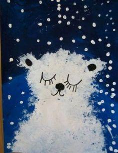Рисуем белого медведя губкой - Сайт для мам малышей