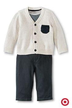 Your baby boy will be party ready and comfy as ever in this 3-piece sweater set. This classic style includes a sweet cardigan sweater, bodysuit and coordinating pants. Top off this look with the dapper newsboy cap and you're set. Too cute!