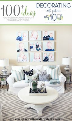 Canvas Wall Gallery Idea + 100 other decorating with picture ideas! Great ideas for decorating with pictures! Decorating With Pictures, Decorating Your Home, Diy Home Decor, Picture Wall, Photo Wall, Picture Ideas, Wall Decor, Room Decor, Family Wall