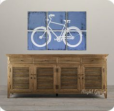 Distressed Retro Bicycle Painting  Large Artwork  by RightGrain, $165.00