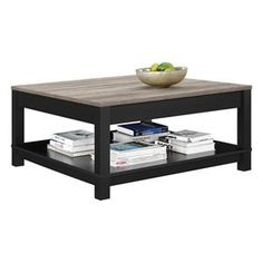 Carver Coffee Table in Black and Sonoma Oak | Nebraska Furniture Mart