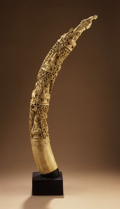Tusk with Buddhas Burma (Myanmar), Moulmein (?), circa 1900 Sculpture Ivory 34 x 3 in. x cm) Oriental, Burma Myanmar, Hand Built Pottery, Ivoire, West Africa, Horns, Sculptures, Carving, Pearls