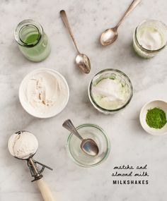 5 Summer Brunch Recipes Anyone (Even You!) Can Master - Matcha Shakes With Almond Milk Matcha Ice Cream, Green Tea Ice Cream, Matcha Green Tea, Matcha Drink, Matcha Smoothie, Vegan Smoothies, Milkshake Recipes, Milkshakes, Iced Tea Recipes