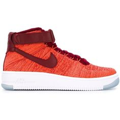 Nike Air Force 1 Ultra Flyknit Sneakers ($176) ❤ liked on Polyvore featuring shoes, sneakers, red, flyknit sneakers, velcro strap shoes, nike shoes, nike trainers and velcro shoes