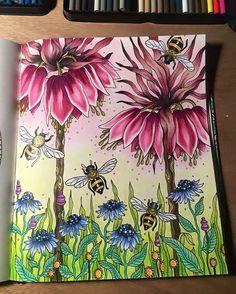 "Colored by Kendall Haynes Garstka  Hanna Karlzon ""Dagdrommar"" ""Daydream"" Hanna Karlzon with her wonderful coloring book ""Dagdrommar"" translated as ""Daydream""; April 2016 #hannakarlzon #dagdrommar #adultcoloring"
