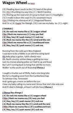 wagon wheel ukulele chords - Google Search Guitar Chords And Lyrics, Guitar Chords For Songs, Guitar Sheet Music, Ukulele Songs, Guitar Tips, Mandolin Songs, Banjo Ukulele, Guitar Chords Beginner, Jazz Guitar