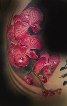 Not your typical detailed orchid tattoo. The vivid color and illustration style make it an interesting post-mastectomy scar-coverage or nipple-coverage idea. [p-ink.org]