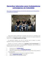 Derechos Laborales Para Trabajadores Extranjeros en Colombia