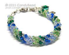 Swarovski bracelet, Green and Blue Twisty Swarovski Crystal Bracelet by CandyBead