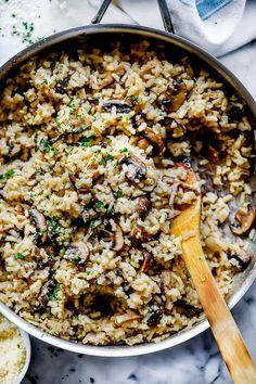 Risotto Recipes, Pasta Recipes, Cooking Recipes, Rice Recipes, Veggie Recipes, Vegetarian Recipes, Creamy Mushrooms, Stuffed Mushrooms, Stuffed Peppers