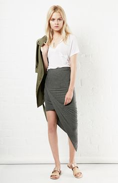 b90e5b535b72 DailyLook  Twisted High Low Skirt in Charcoal