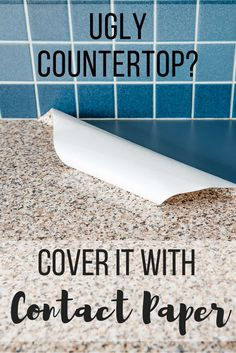 "Paper Kitchen Counter - 2 Years Later contact paper kitchen counter with text overlay reading ""Ugly Countertop? Cover it with Contact Paper!""contact paper kitchen counter with text overlay reading ""Ugly Countertop? Cover it with Contact Paper! Ugly Kitchen, Kitchen Redo, Kitchen Hacks, Granite Kitchen, Painting Kitchen Countertops, Rental Kitchen Makeover, Kitchen Makeovers, Replace Kitchen Countertops, Painting Formica Countertops"