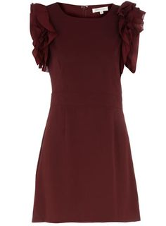Burgundy ruffle frill dress