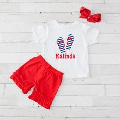 Striped Flip Flops - Personalized Graphic Shirt and Short Set 4th Of July Celebration, Ruffle Shorts, Little Girl Outfits, Short Set, Graphic Shirts, Ribbon Bows, Sun, Vacation