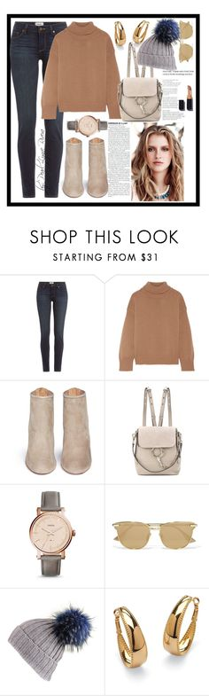"""Ynallection Elizhabeth"" by pearllynnerivera ❤ liked on Polyvore featuring Paige Denim, Mansur Gavriel, Aquazzura, Chloé, FOSSIL, Le Specs, Black and Palm Beach Jewelry"