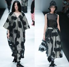 BANXIAOXUE 2015 Spring Summer Womens Runway Catwalk Looks - Shanghai Fashion Week China - Sheer Chiffon Chunky Knit Shirtdress Lace Mesh Dress Skirt Frock Fringes Vest Waistcoat Poncho Outerwear Coat Jacket Drapery Scribbles Flowers Florals 3D Embroidery Oversized Wide Sleeves Threads Loops Maxi Dress Noodle Spaghetti Strap Silk Bucket Hat Weave Crochet Paper Mache Abstract