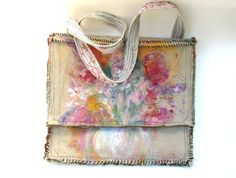 Large Bag Handpainted Floral Design One of a Kind Canvas Burlap Natural Look Cross Body Strap