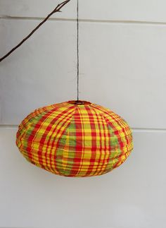 Lampe coton Madras - Madras cotton Lamp by Lesflibustieres on Etsy