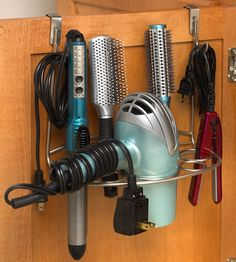 The Over-the-Door Hair Dryer Holder Multi-Rack stores your hair dryer curling…