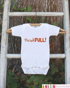 This adorable outfit is a perfect for your little one this Thanksgiving! Available as a bodysuit or t-shirt. Our graphics are professionally printed directly onto the fabric for bright and vibrant des