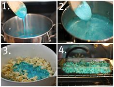 Kool-aid Popcorn   Here is how you can make it to...   What you need: * Cooking spray * 10 cups light buttered popcorn (you can use plain as well) * 1 cup of sugar * 1 cup of corn syrup *1/2 teaspoon baking soda *1 package of kool-aid. Go for the color that will match your party.  Instructions: *For Crunchier popcorn, preheat your oven to 225.  *Pour your 10 cups of popcorn into a greased bowl (spray with pam).  *Bring sugar, corn syrup, and kool-aid to a boil for about 6 minutes and…
