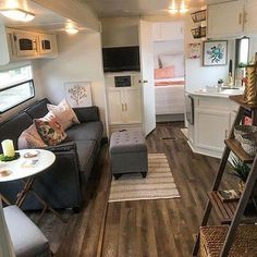 46 Best RV Furniture for Space Saving Tiny House Living, Rv Living, Living Room, Happy Campers, Space Saving Furniture, Furniture Ideas, Rv Homes, Diy Rv, Rv Interior
