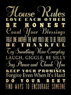 House / Family Rules Bus  / Transit / Subway Roll / Typography Art Poster 18X24 - Wall Art Decoration -  LHA-292. $44.95, via Etsy.