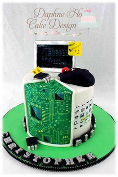 Cake Wrecks: Computer Cake by Daphne Ho Cake Design Teachers Day Cake, Teacher Cakes, Funny Birthday Cakes, 13 Birthday Cake, Engineering Cake, Computer Cake, Science Cake, Bolo Youtube, Jake Cake