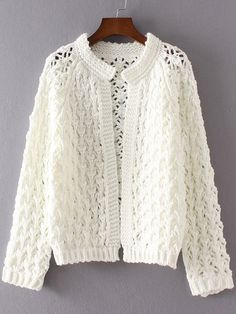 White Hollow Out Raglan Sleeve Cardigan - Diy Crafts Crochet Bookmark Pattern, Crochet Shrug Pattern, Knit Cardigan Pattern, Crochet Jumper, Crochet Blouse, Knitting Paterns, Knitting Designs, Sewing Clothes, Crochet Clothes
