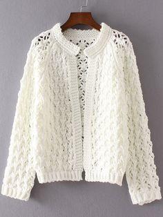 White Hollow Out Raglan Sleeve Cardigan - Diy Crafts Crochet Jumper, Crochet Shrug Pattern, Knit Cardigan Pattern, Crochet Cardigan, Sewing Clothes Women, Crochet Clothes, Long Sweater Coat, Knitting Paterns, Crochet Woman