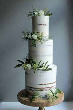 Minimal semi-naked tall three tier cake. Simple white and green wedding cake. Wedding Cake Prices, Floral Wedding Cakes, Wedding Cake Rustic, Elegant Wedding Cakes, Wedding Cake Designs, Wedding Cake Toppers, Cake Wedding, Fruit Wedding, Tall Wedding Cakes
